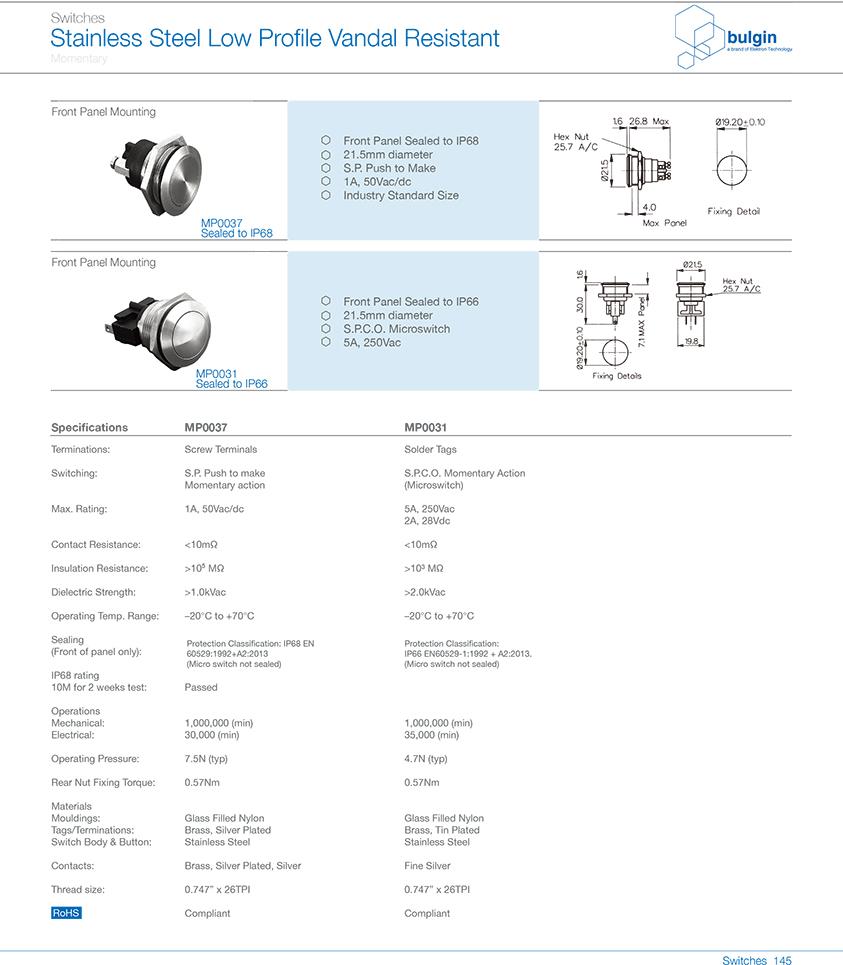 MP0031不锈钢防破坏开关选型