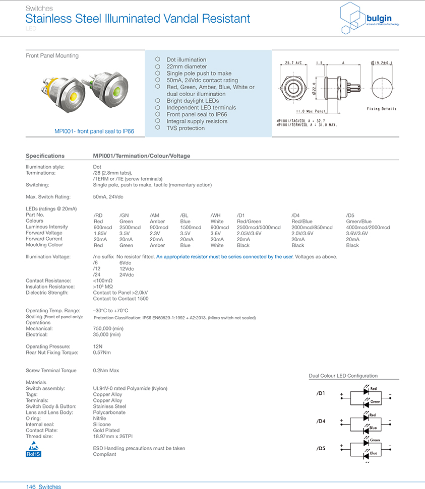MP1001前面板密封防破坏开关选型