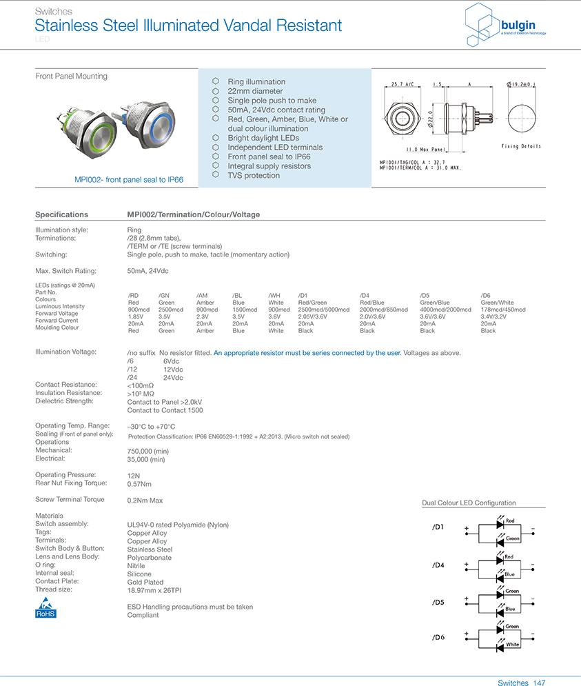 MPI002前面板密封防破坏开关选型