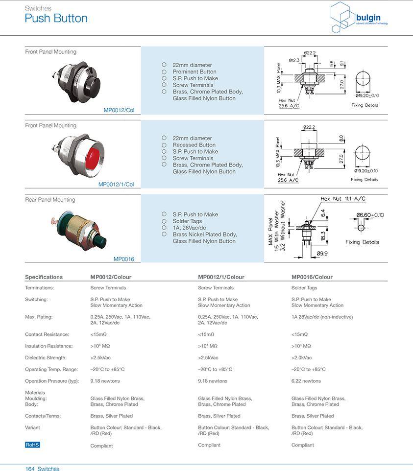 MP0016系列后面板安装按钮开关型号