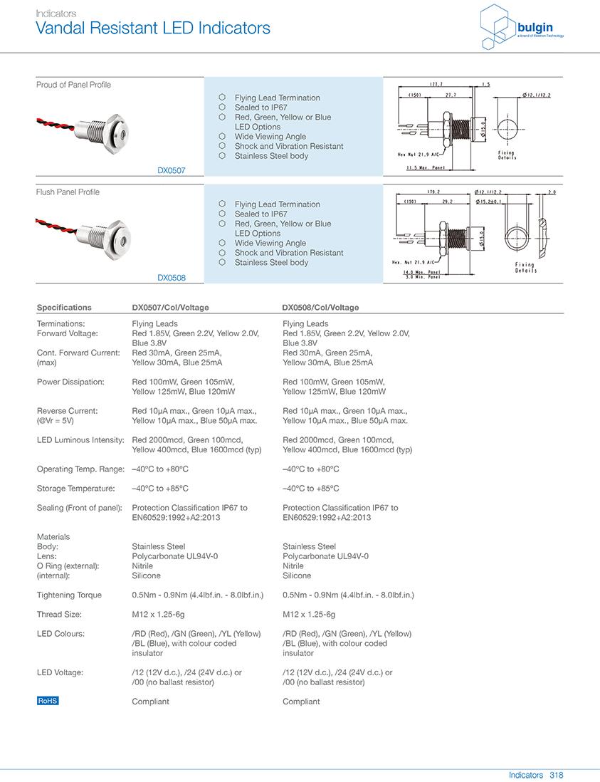DX0507不锈钢防破坏 LED 指示灯选型