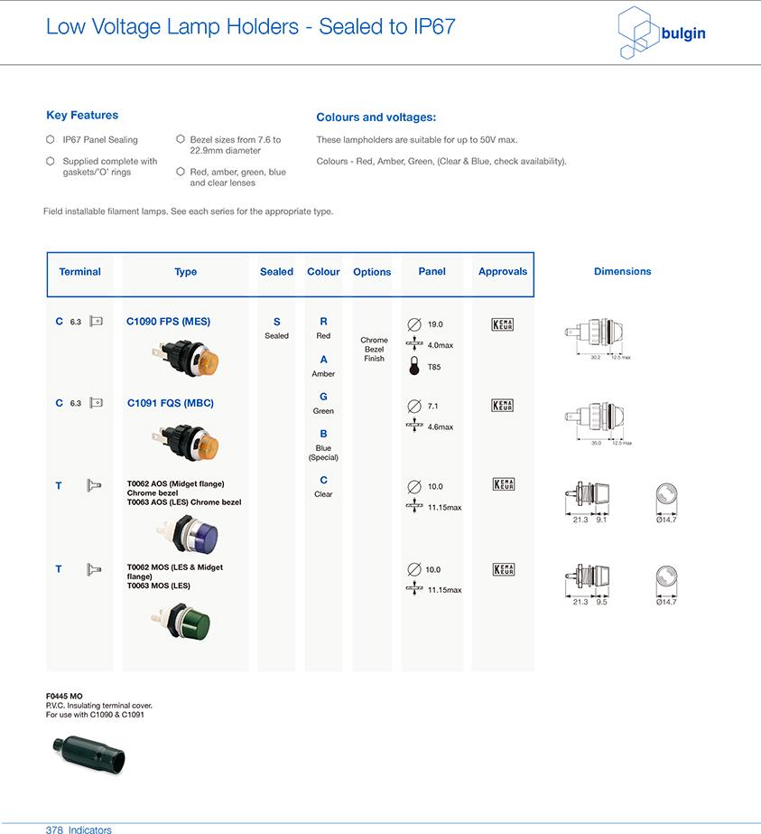IP67 等级面板密封低电压指示灯选型