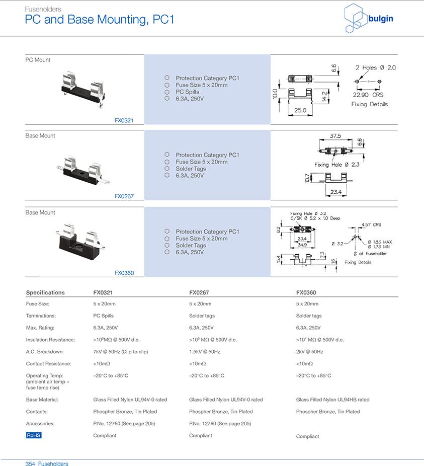 PCB 安装FX0321保险丝座型号