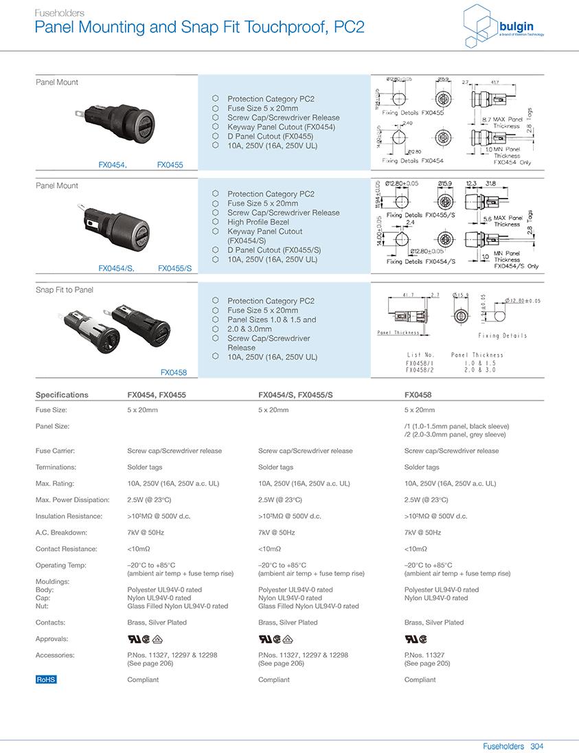 FX0458防触摸保险丝座选型