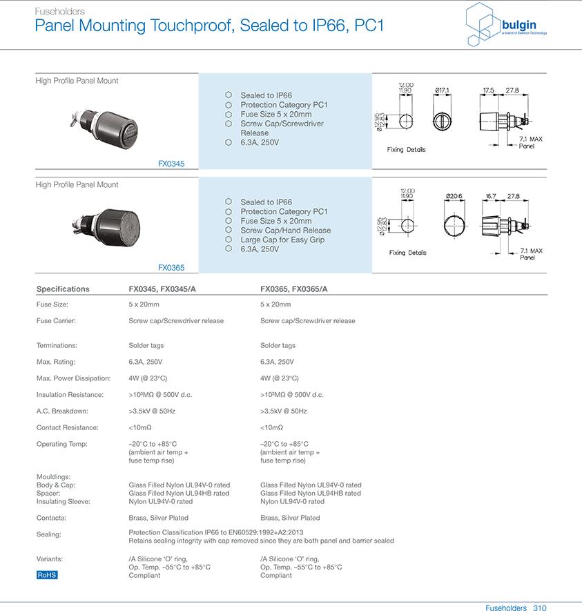FX0365 IP66保险丝座选型