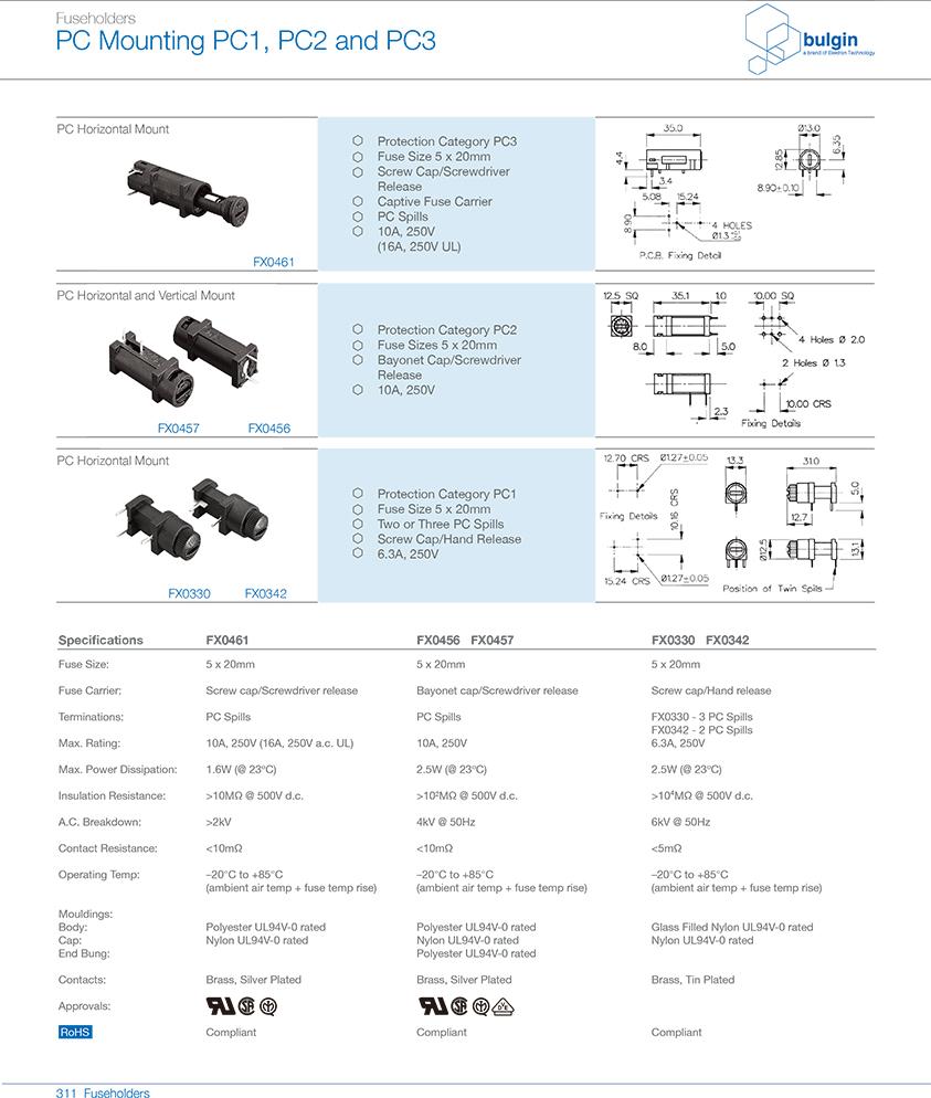 FX0330 PCB安装保险丝座型号