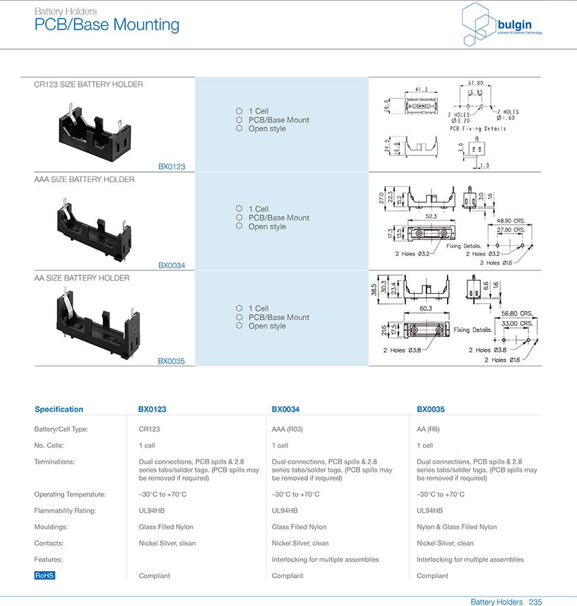 AAR6 PCB底座安装电池座选型