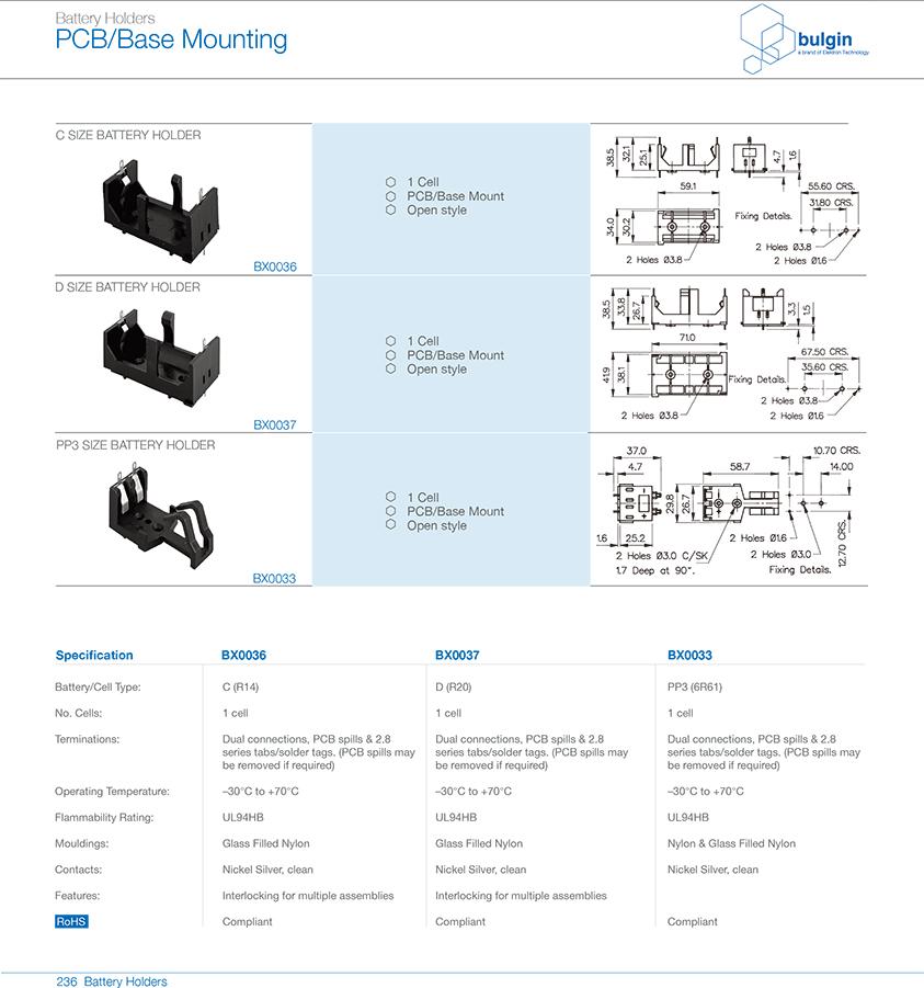 PP36R61 PCB底座安装电池座参数