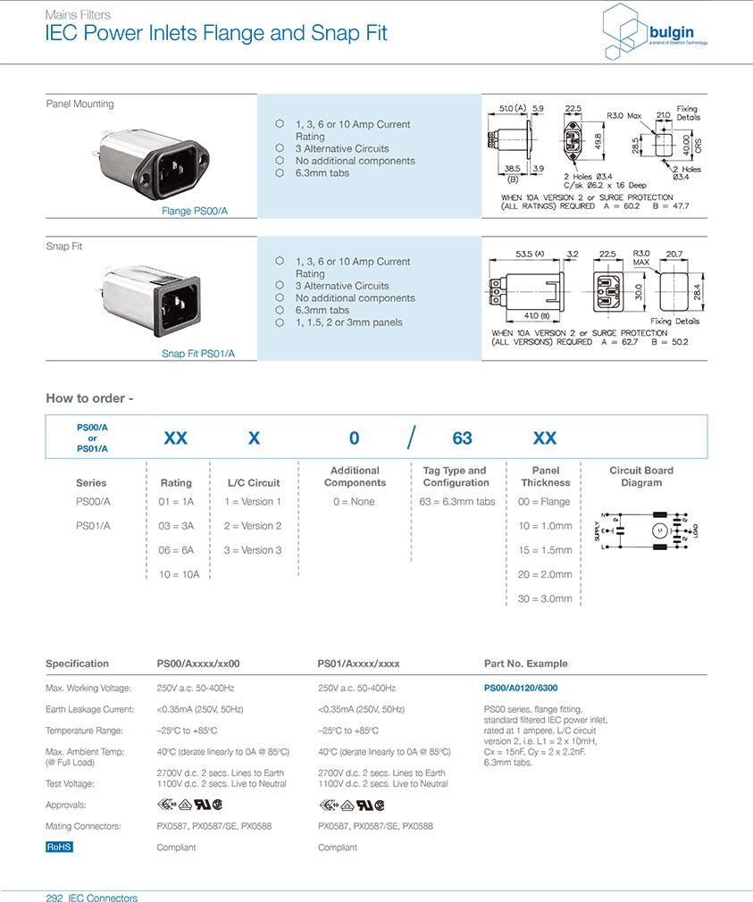 PS00-A带滤波器的 IEC 电源接入口选型