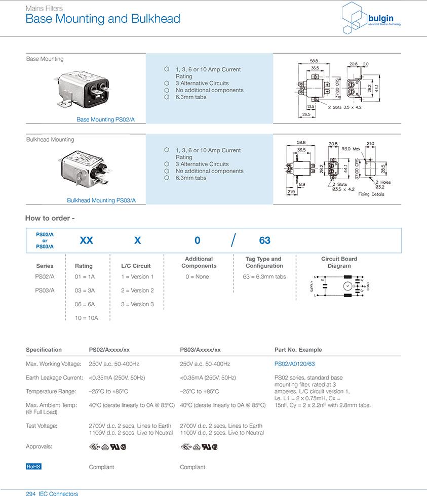 PS03-A独立电源滤波器选型