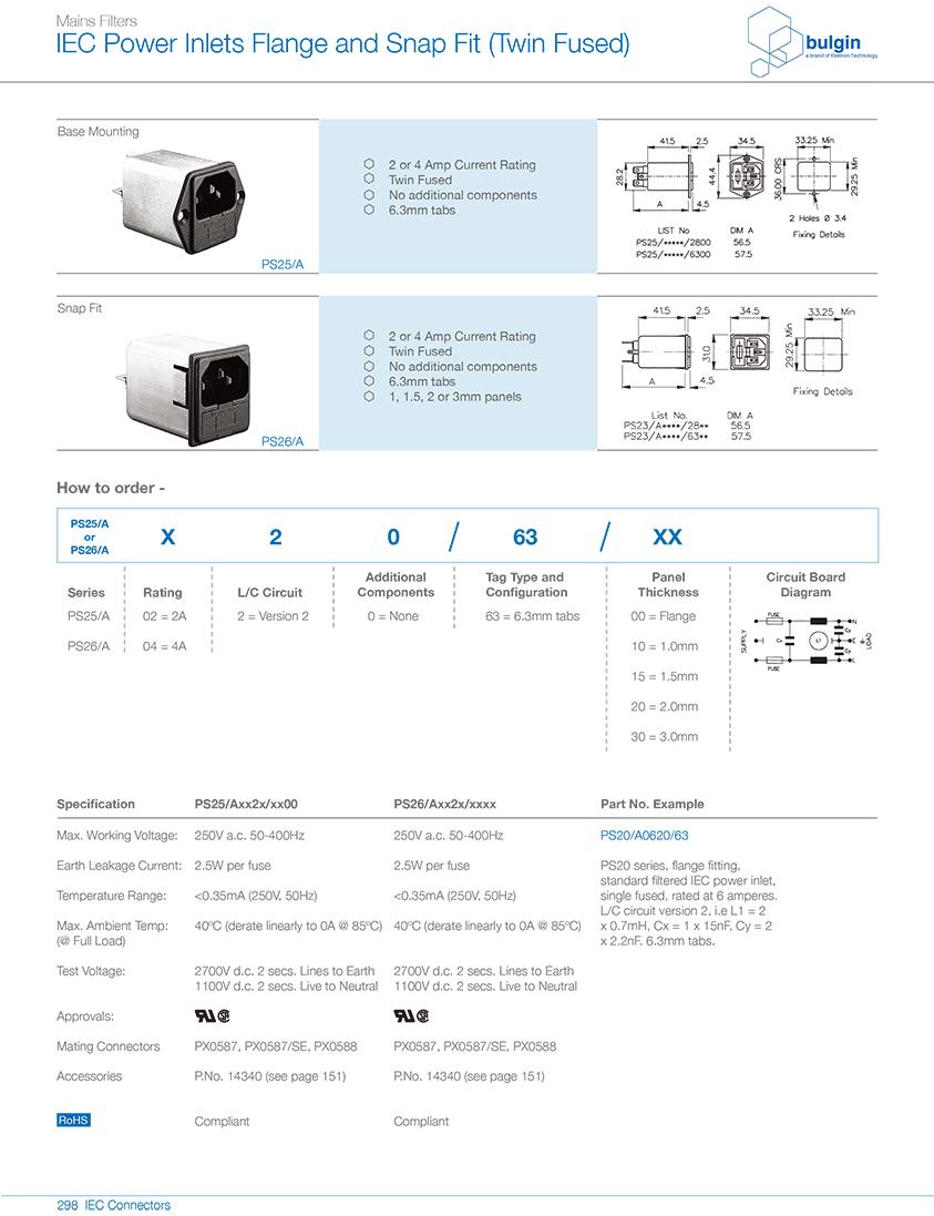 PS26-A带整体式双保险丝的带滤波器型号