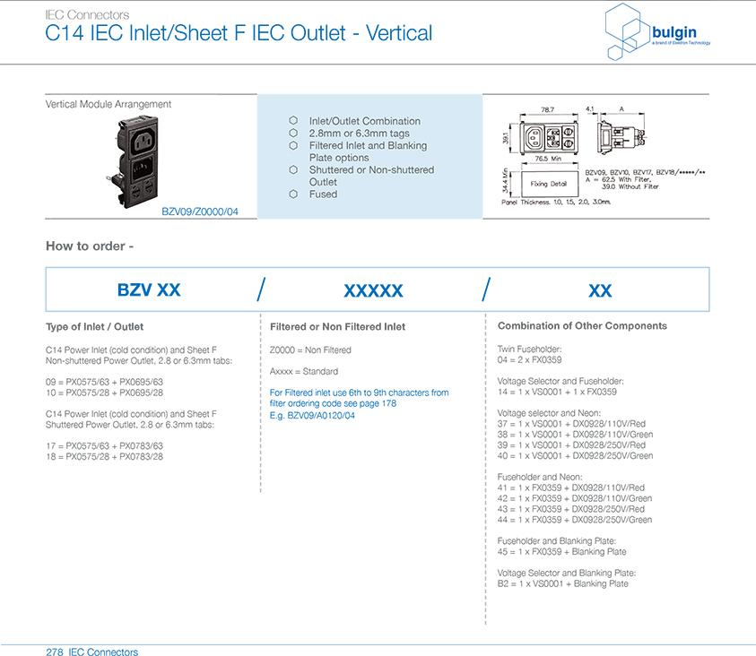 BZV09-Z0000-04垂直电源接入模块选型