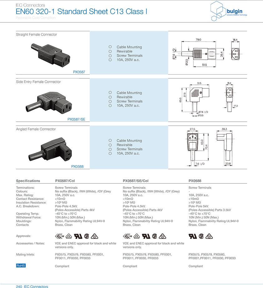 内螺纹IEC连接器PX0587选型