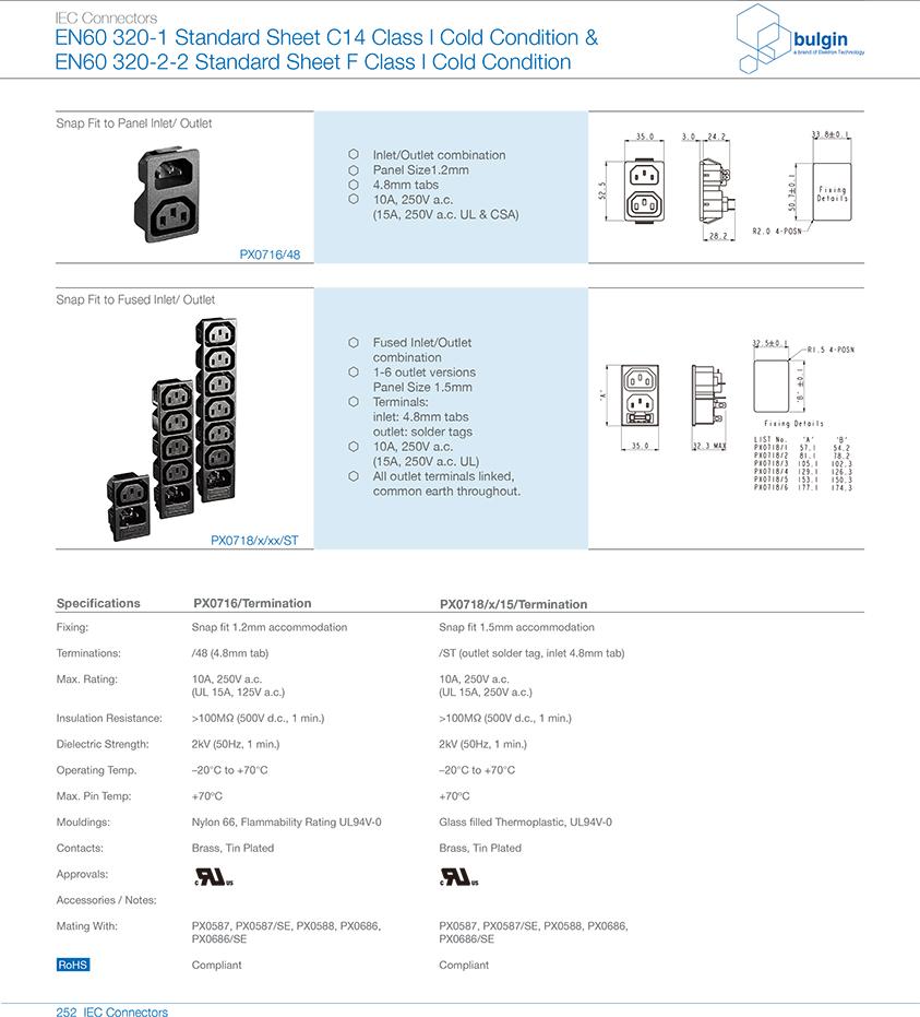 扣合面板安装及有保险丝插座PX0718选型