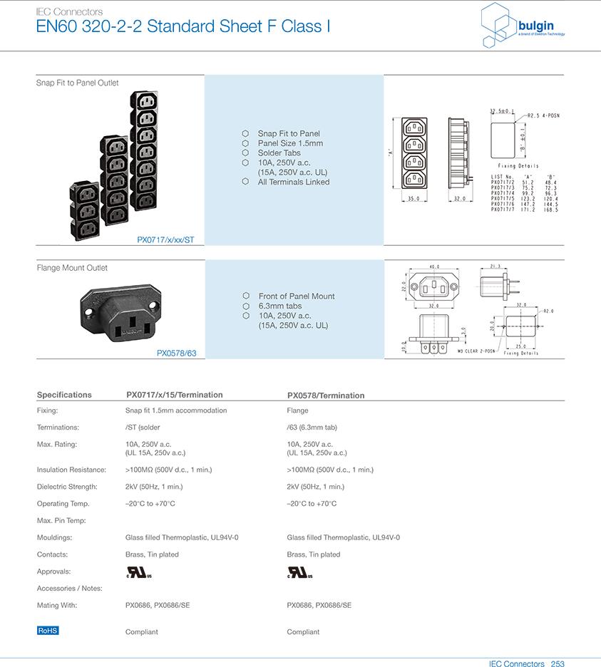 扣合面板安装插座PX0717技术参数