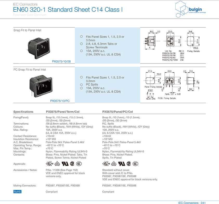 PX0575系列扣合面板安装插座选型