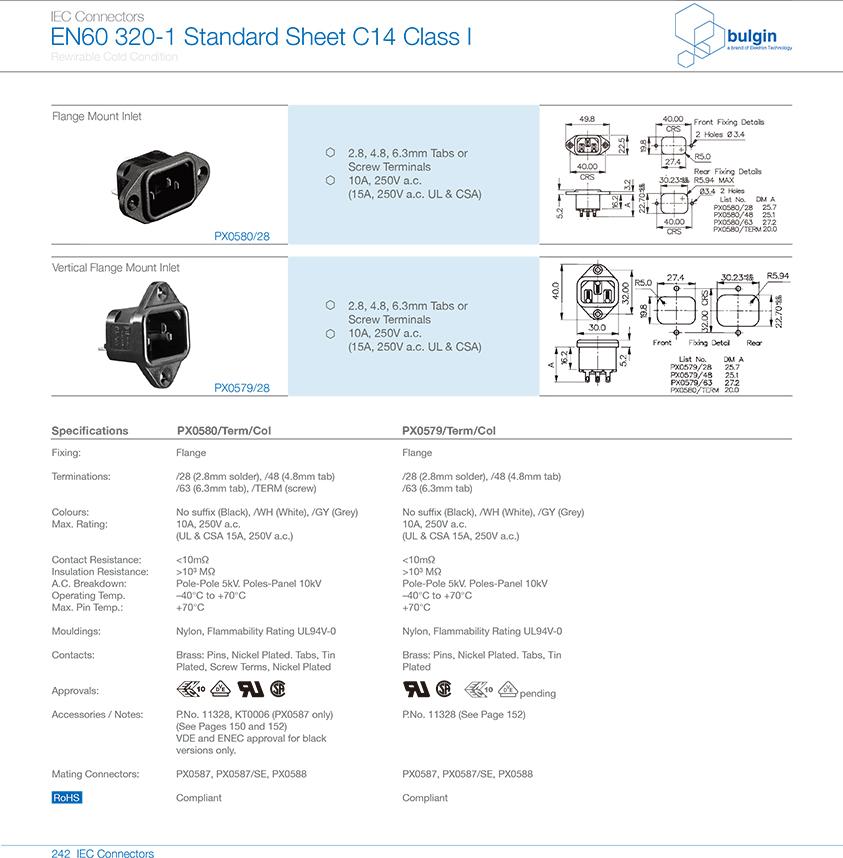PX580系列法兰安装插座选型