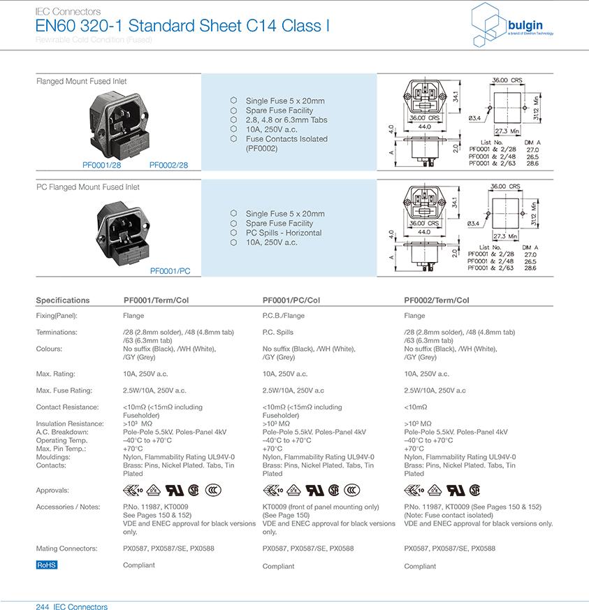 法兰安装及有保险丝座插座PF0001/PC选型
