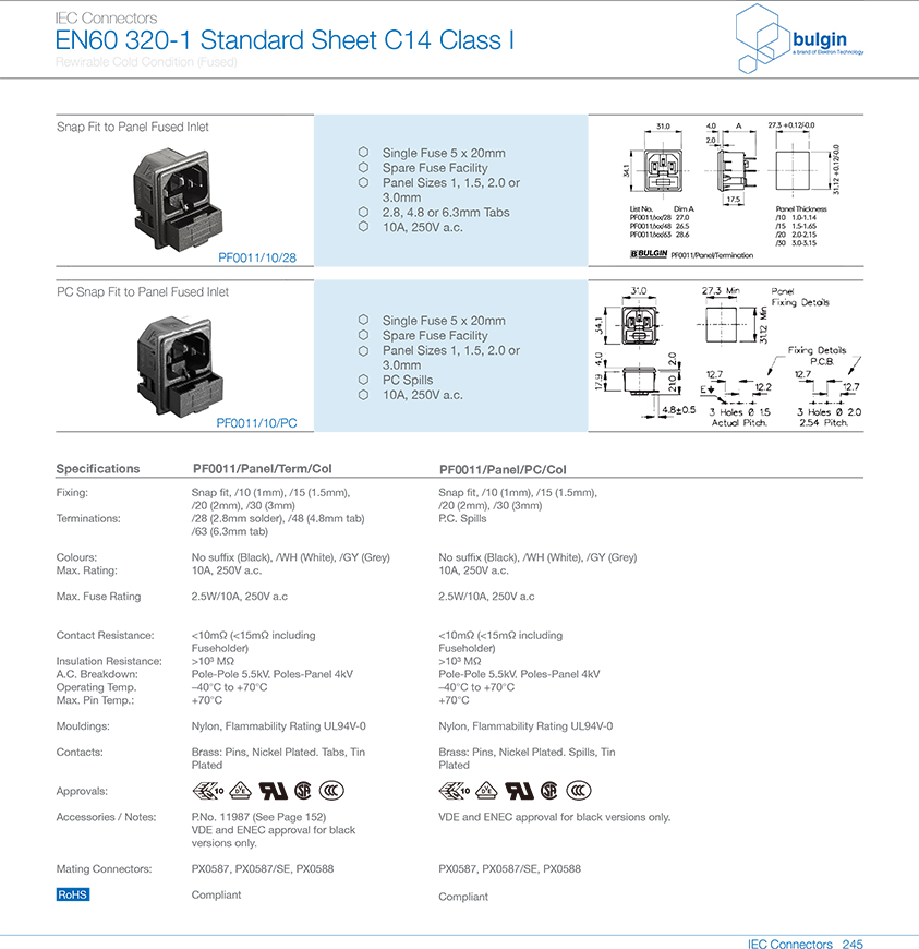PF0011系列扣合面板安装及有保险丝座选型