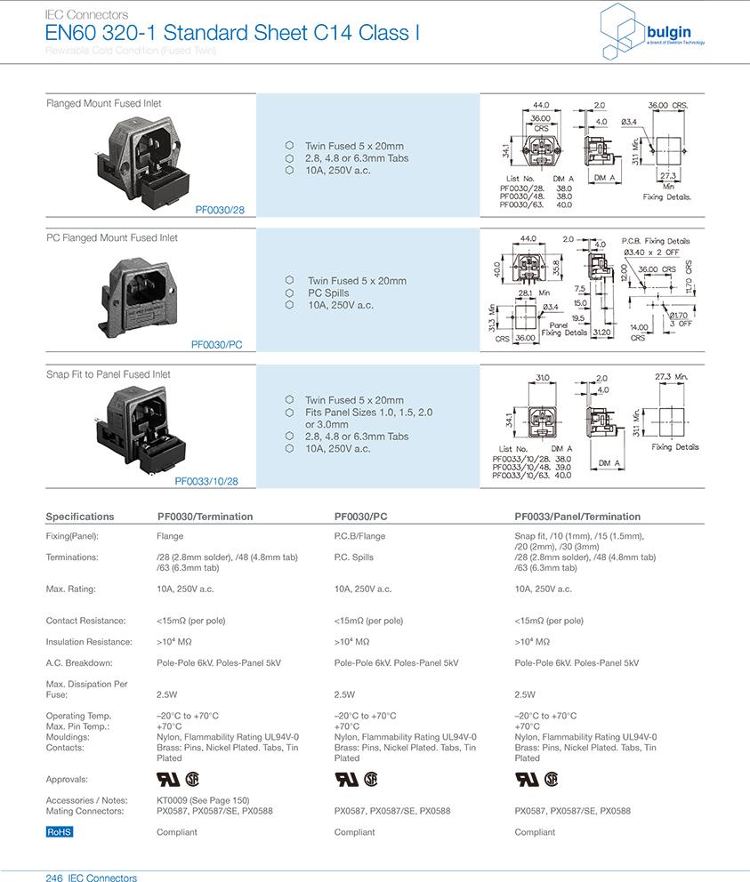 PF0033系列扣合面板安装双保险丝 技术参数