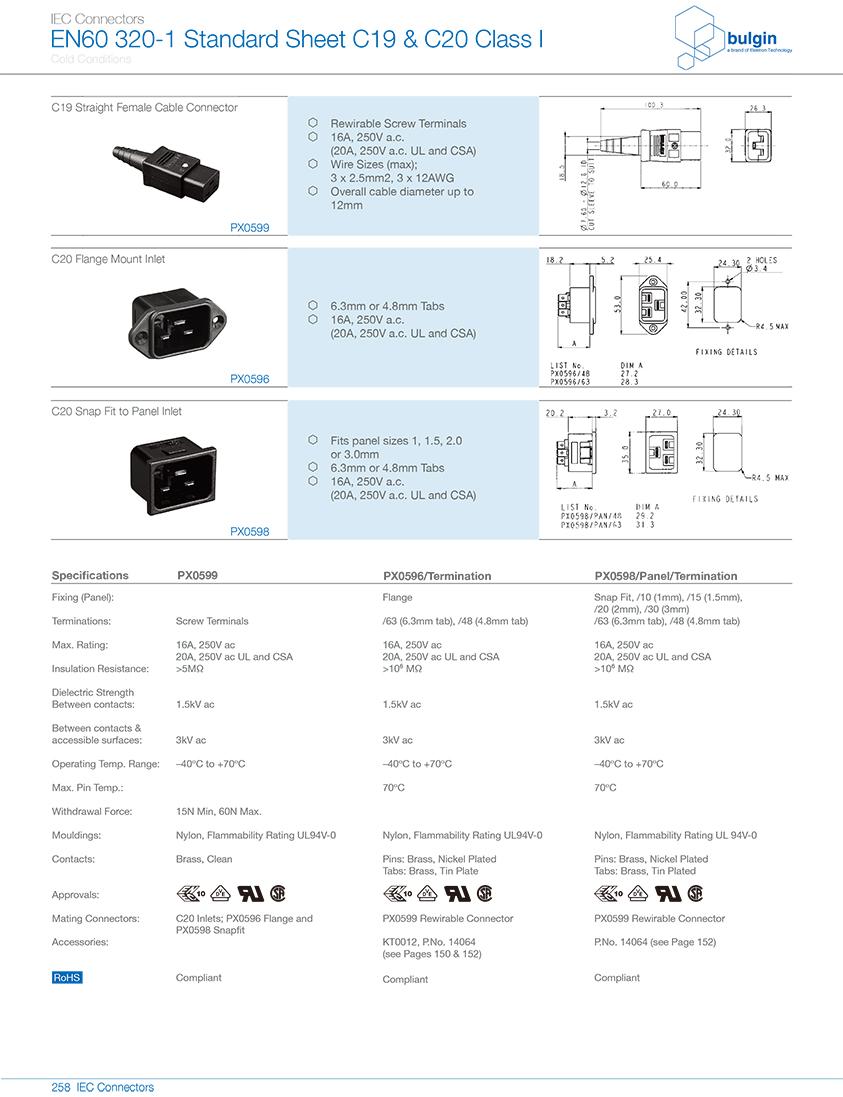 PX0599系列直型内螺纹 C19 IEC 连接器技术参数